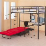 stunning black loft bed idea with white bedding and desk and red sleeper sofa and wooden floor and glass window