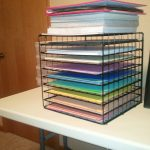 Stunning Black Wire Scrapbook Paper Organizer Design With Pink Blie Yellow And Purple Colors On White Desk Of Office Design