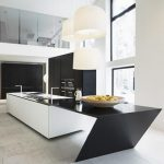 stunning bright white modern kitchen design with glossy modern black island top with double height ceiling and large glass window