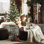 stunning christmas design pottery barn for teen with faux skinsheep throw and black zebra pouf and christmas tree and storage