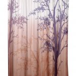 Stunning Nature Shower Curtain Idea With Brown Ombre Base Color And Tree Pattern