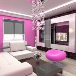 stunning pink white ikea livng room idea with wallpaper and floating console tv and glass coffee table anc pink stools and wooden floor