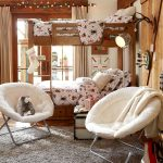 stylish-white-papasan-chairs-for-kids-bedroom-and-bunk-bed-with-wood-material-and-grey-carpet-on-the-wooden-floor-and-dart