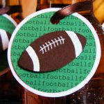 super bowl party decoration idea idea with round card on wine bottle with ball shape
