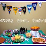 super bowl party decoration idea table centerpiece with flag and some foods