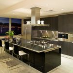 super spacious kitchen design with black home bar idea with black stools and luxurious kitchne set with open plan