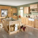 totaly beige kitchen design with open island and modern stools and modern flooring and diy storage idea