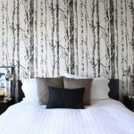 tree-birch-wallpaper-for-elegant-bedroom-with-black-and-white-color-themed-and-white-grey-and-dark-blue-cushions-and-white-bed-and-black-dressers-with-picture