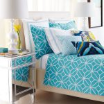 turquoise velvet fabric bed sheet idea on white bedding with acrylic nightstand and white table lamp