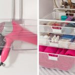 Underneath Sink Bathroom Organizer For Organize Cosmetics And Toiletries Using Elfa Mesh Drawer Unit As The Smaller Plastic Container Also Over The Door Cabinet Organizer For Hair Dryer