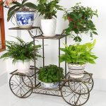 unique and green great indoor plant idea with cart shape wrought iron with white pots beneath white wall