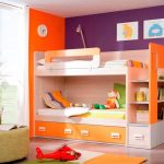 unique combination of orange white and purple of pics of bunk bed idea with storage and wall pictures and green table and orange rug