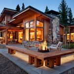 Unique Contemporary Wooden House Design With Outdoor Living Space With Open Plan And Fire Pit And Wooden Bench