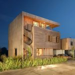 Unique Contemporary Wooden House Design With Spiral Outside Stairs With Lighting And Garden And Balcony