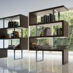 unique floor to ceiling bookshelves idea with lego style and strong framing in a room with open plan