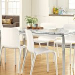 white-dining-room-with-white-tiffany-chairs-and-ceramics-dining-table-also-brown-wooden-floor-and-brown-sofa