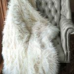 white faux fur blanket queen decorated in gray tufted chair for home decorating ideas
