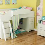 white full size toddler bed and loft bed with storage and cute bedding decorated with wooden dresser and striped curtain plus hardwood floor
