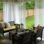 white lace draperies idea for patio with shade dark coated wooden patio furniture with yellow cushion and throw pillows