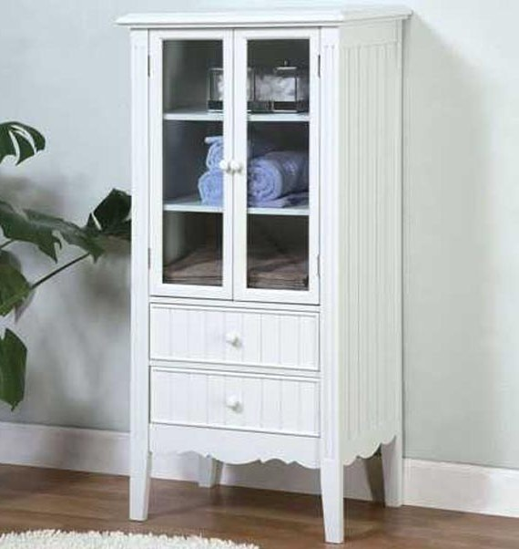 White Storage Cabinet With Gl Doors For Bathroom In Vintage Style And Completed Two Drawers