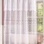 white-victorian-lace-shower-curtains-for-white-bathtub-and-soft-orange-towel-near-window-also-onn-weeden-floor-and-soft-purple-wall