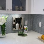 wonderful and modern kitchen ideas with small grey colored subway tile in vertical brick pattern
