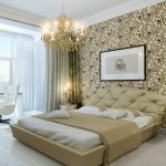 wonderful bedroom design with patterned temporary wall covering idea with chandelier and creamy beddig and glass window and sofa