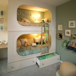 wonderful built in pics of bunk bed idea with storage and lighting and wall picture and adorable pouf and gray rug