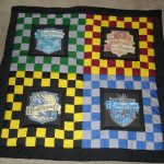 wonderful chest board harry potter throw blanket design in green yellow red blue and black color