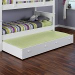 Wonderful White Green Pop Up Trundle Bed Frame Design With Stripe Pattern And Wooden Floor And Gray Wall
