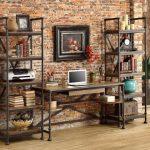 A pair of rustic metal and wood bookcase a media desk with metal and wood as the materials