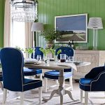 Amazing Dining Room With Blue Upholstered Chairs Long Table White Chandelier Cabinet Standing Lamp In Green Wall
