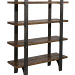 Antique old and rustic look wood and metal bookcase design
