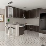 Apartment Kitchen Set With Minimalist Style And Bar Stool