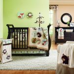 Awesome Animal Green Theme Bedding Sets For Cribs With Fur Rug