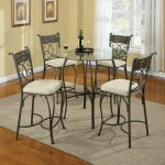 Awesome Glass Kitchen Wrought Iron Table With White Chairs And Sisal Rug