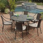 Awesome Round Black Stain Stone Patio Tables With Chairs Near Small Pool