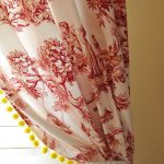 Beautiful Yellow Accent Of Red Toile Curtains