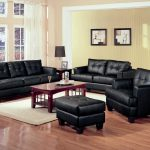 Black Apartment Size Sleeper Sofa WIth Small Wooden Coffee Table