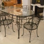 Black Wrought Iron Kitchen Table With Glass Table On Top And Chairs