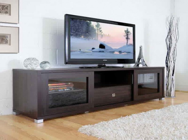 Black Finished Wooden Media Cabinet With Gl Door A Flat Tv