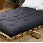 Black futon mattress with white pillows low profile platform bed frame idea