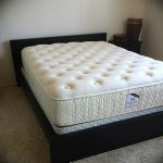 Black Wooden Bed Frame With Low Profile Headboard White Spring Box By Ikea