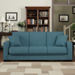 Blue Fold Down Couch With Double Pillows