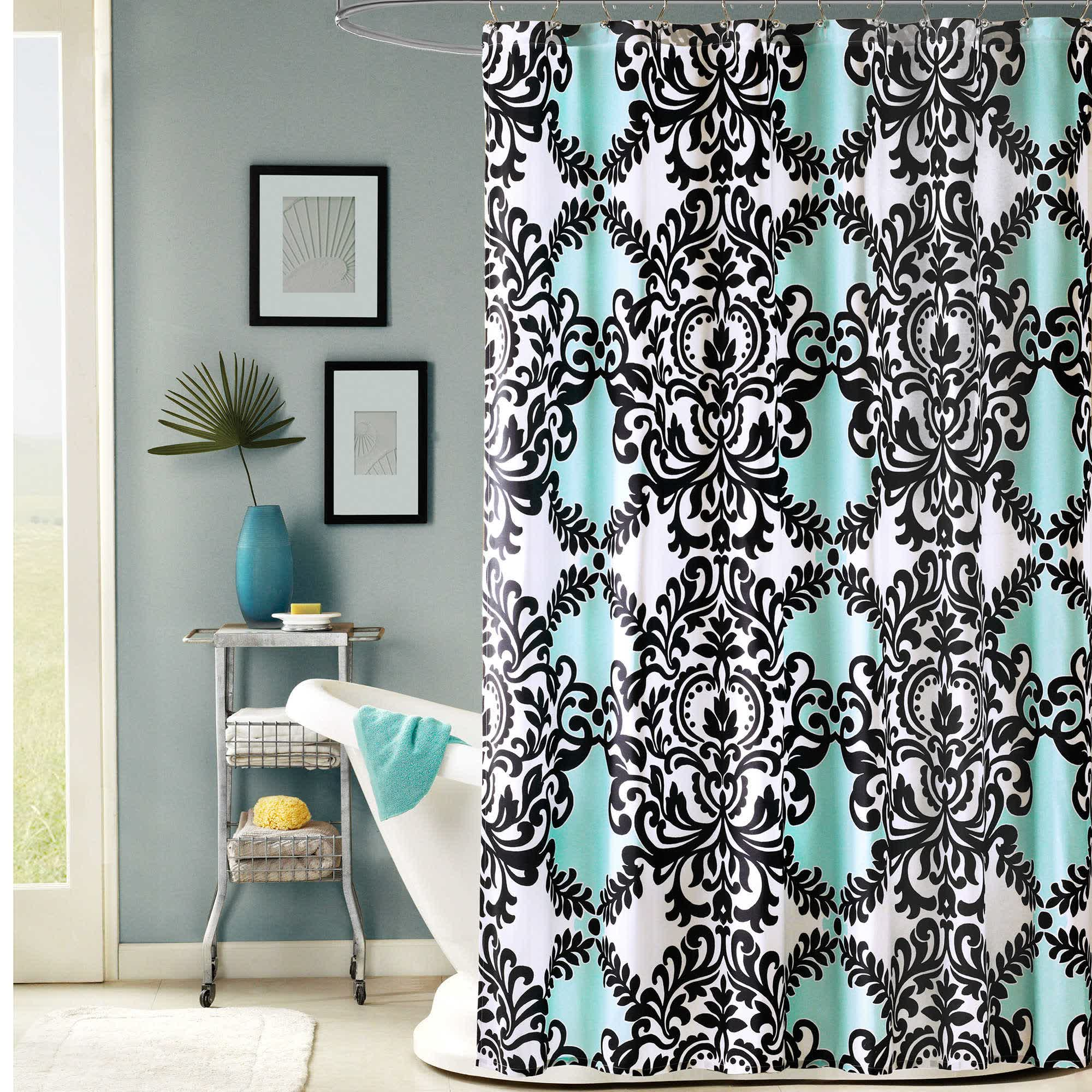 Blue Fabric Shower Curtain With Black Colored Classic Motif Round Chrome  Rod Ring