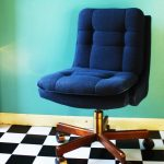 Blue navy desk chair without armrest and with wheels