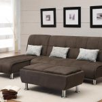 Brown Apartment Size Sleeper Sofa With Triple Piilows And Cream Color Of Rug
