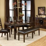 Brown Curtains Of Dining Room WIth Table Chair Bench Set And White Rug
