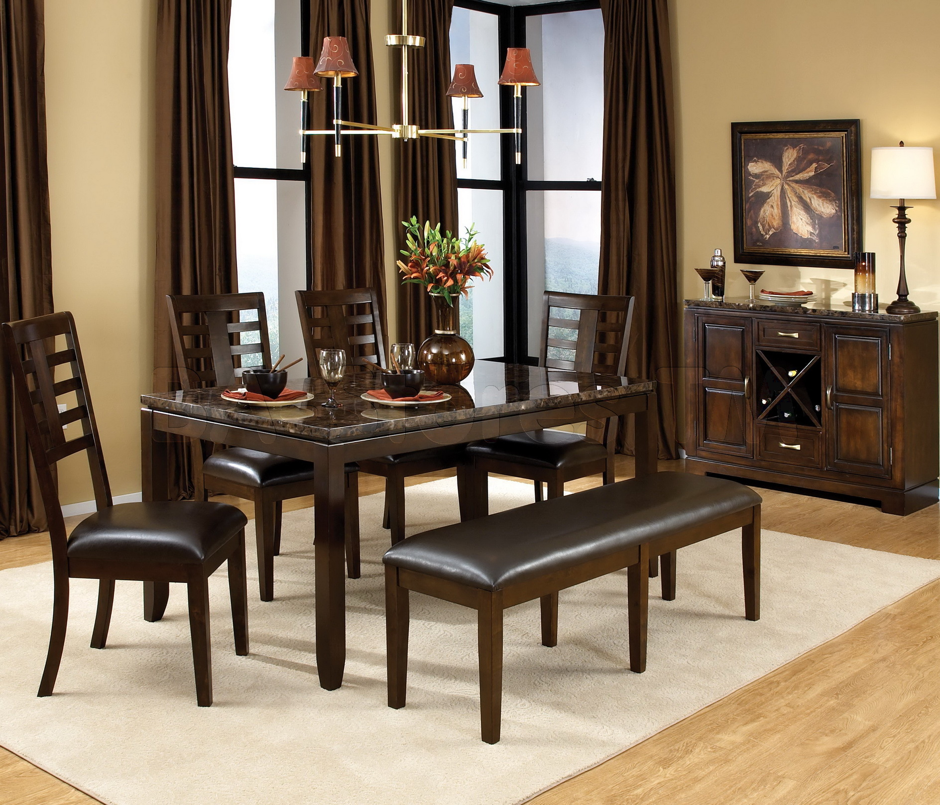Salem 6pc Breakfast Nook Dining Set Table, Corner Bench ...