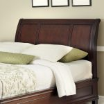 Cal King Cherry Headboard With White Green Pillows And Floral Theme Bedcover